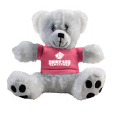Plush Big Paw 8 1/2 inch White Bear w/Pink Shirt-Saint Leo University - Official Logo