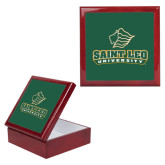Red Mahogany Accessory Box With 6 x 6 Tile-Saint Leo University - Official Logo