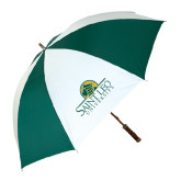 62 Inch Forest Green/White Umbrella-Saint Leo University - Institutional Mark