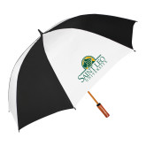 62 Inch Black/White Umbrella-Saint Leo University - Institutional Mark