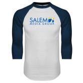 White/Navy Raglan Baseball T Shirt-Media Group