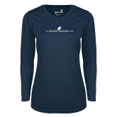 Ladies Syntrel Performance Navy Longsleeve Shirt-The Dennis Prager Show