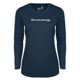 Ladies Syntrel Performance Navy Longsleeve Shirt-The Michael Medved Show
