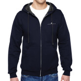 Navy Fleece Full Zip Hoodie-The Dennis Prager Show