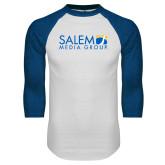 White/Royal Raglan Baseball T Shirt-Media Group