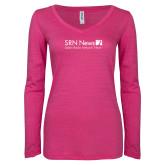 ENZA Ladies Hot Pink Long Sleeve V Neck Tee-Salem Radio Network News