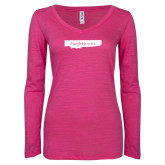ENZA Ladies Hot Pink Long Sleeve V Neck Tee-Hugh Hewitt