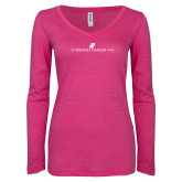 ENZA Ladies Hot Pink Long Sleeve V Neck Tee-The Dennis Prager Show
