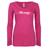 ENZA Ladies Hot Pink Long Sleeve V Neck Tee-The Mike Gallagher Show