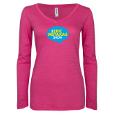 ENZA Ladies Hot Pink Long Sleeve V Neck Tee-The Eric Metaxas Show