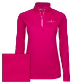 Ladies Pink Raspberry Sport Wick Textured 1/4 Zip Pullover-The Dennis Prager Show