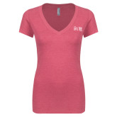 Next Level Ladies Vintage Pink Tri Blend V Neck Tee-The Larry Elder Show