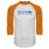White/Orange Raglan Baseball T Shirt-Media Group
