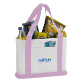 Contender White/Pink Canvas Tote-Media Group