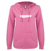ENZA Ladies Hot Pink V Notch Raw Edge Fleece Hoodie-Hugh Hewitt