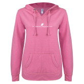 ENZA Ladies Hot Pink V Notch Raw Edge Fleece Hoodie-The Dennis Prager Show