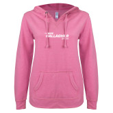 ENZA Ladies Hot Pink V Notch Raw Edge Fleece Hoodie-The Mike Gallagher Show