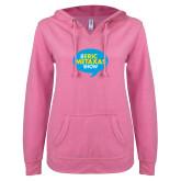 ENZA Ladies Hot Pink V Notch Raw Edge Fleece Hoodie-The Eric Metaxas Show