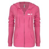 ENZA Ladies Hot Pink Light Weight Fleece Full Zip Hoodie-Hugh Hewitt