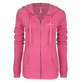 ENZA Ladies Hot Pink Light Weight Fleece Full Zip Hoodie-The Dennis Prager Show
