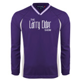 Colorblock V Neck Purple/White Raglan Windshirt-The Larry Elder Show