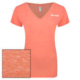 ENZA Ladies Coral Melange V Neck Tee-The Mike Gallagher Show