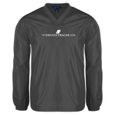 V Neck Charcoal Raglan Windshirt-The Dennis Prager Show