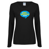 Ladies Black Long Sleeve V Neck Tee-The Eric Metaxas Show