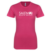 Ladies SoftStyle Junior Fitted Fuchsia Tee-Media Group