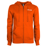 ENZA Ladies Orange Fleece Full Zip Hoodie-The Mike Gallagher Show