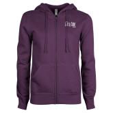 ENZA Ladies Purple Fleece Full Zip Hoodie-The Larry Elder Show