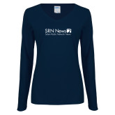 Ladies Navy Long Sleeve V Neck Tee-Salem Radio Network News