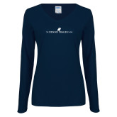 Ladies Navy Long Sleeve V Neck Tee-The Dennis Prager Show