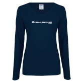 Ladies Navy Long Sleeve V Neck Tee-The Michael Medved Show