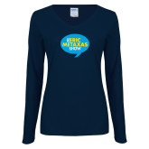 Ladies Navy Long Sleeve V Neck Tee-The Eric Metaxas Show