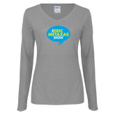 Ladies Grey Long Sleeve V Neck Tee-The Eric Metaxas Show
