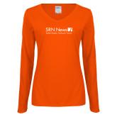 Ladies Orange Long Sleeve V Neck Tee-Salem Radio Network News