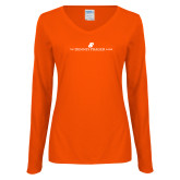 Ladies Orange Long Sleeve V Neck Tee-The Dennis Prager Show