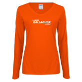 Ladies Orange Long Sleeve V Neck Tee-The Mike Gallagher Show