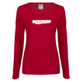 Ladies Cardinal Long Sleeve V Neck Tee-Hugh Hewitt