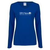 Ladies Royal Long Sleeve V Neck Tee-Salem Radio Network News