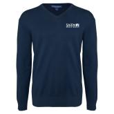 Classic Mens V Neck Navy Sweater-Media Group
