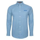 Mens Light Blue Oxford Long Sleeve Shirt-Media Group