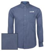 Mens Deep Blue Crosshatch Poplin Long Sleeve Shirt-Media Group