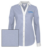 Ladies Red House Diamond Dobby Blue/White Long Sleeve Shirt-Media Group