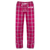 Ladies Dark Fuchsia/White Flannel Pajama Pant-Media Group