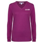 Ladies Deep Berry V Neck Sweater-Media Group