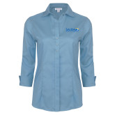 Ladies Red House Light Blue 3/4 Sleeve Shirt-Media Group