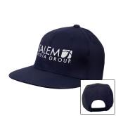 Navy Flat Bill Snapback Hat-Media Group