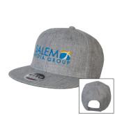 Heather Grey Wool Blend Flat Bill Snapback Hat-Media Group